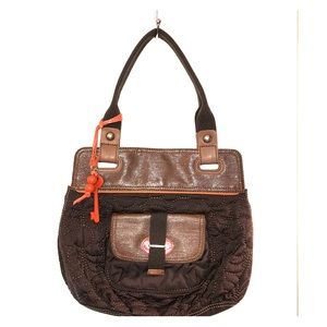 Fossil Key Per purse tote brown orange quilted